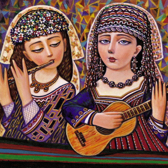 mosaic colorful folk music painting